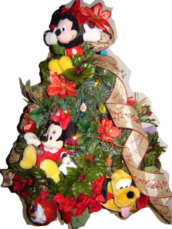 Decorated Royal Holiday Character Tree with Mickey and Minnie, 2ft